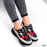 Кроссовки женские Berna черные + серый + белый + красный 3328, фото 8