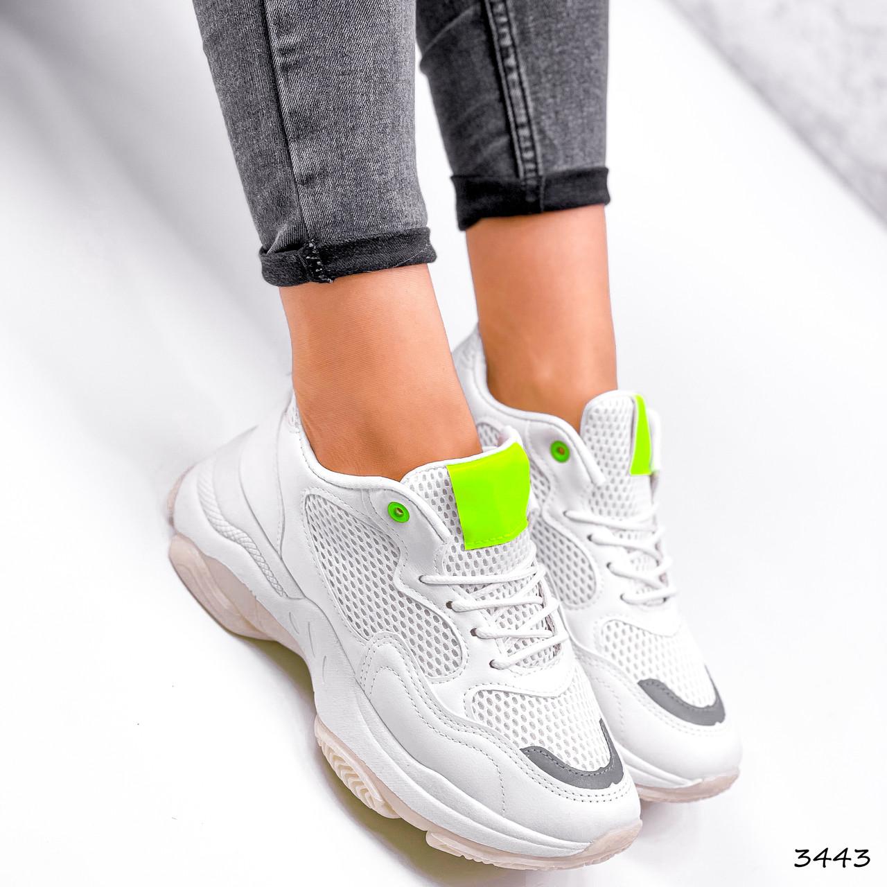 Кросівки жіночі Agnes білі + салатовий 3443