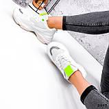 Кросівки жіночі Agnes білі + салатовий 3443, фото 2