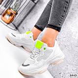 Кросівки жіночі Agnes білі + салатовий 3443, фото 3