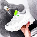 Кросівки жіночі Agnes білі + салатовий 3443, фото 6