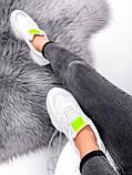 Кросівки жіночі Agnes білі + салатовий 3443, фото 9