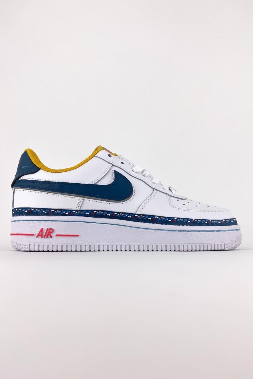 Жіночі кросівки Nike Air Force 1 Swoosh Chain Pack White (біло - сині) C-1784 якісні стильні кроси