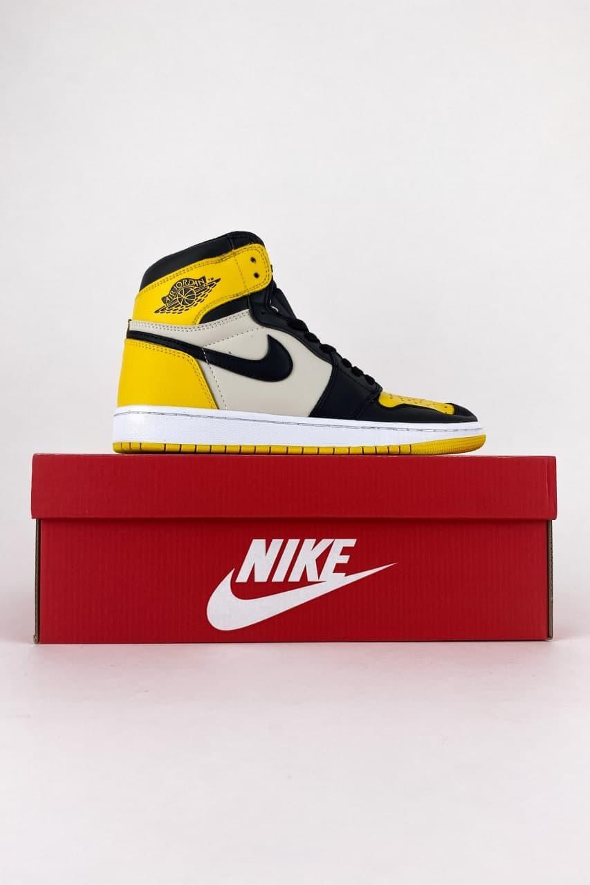 Мужские кроссовки Nike Air Jordan 1 Mid Yellow Black (Желтый) C-1403 стильные повседневные кроссы