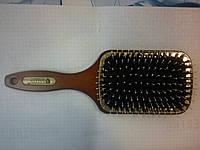 Массажная щётка для волос Salon квадрат Дерево со щетиной