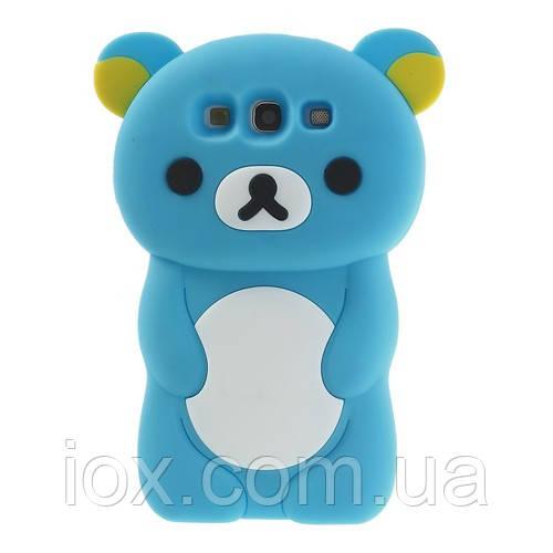 """Голубой силиконовый чехол """"Мишка"""" Samsung Galaxy S3/S3 duos"""