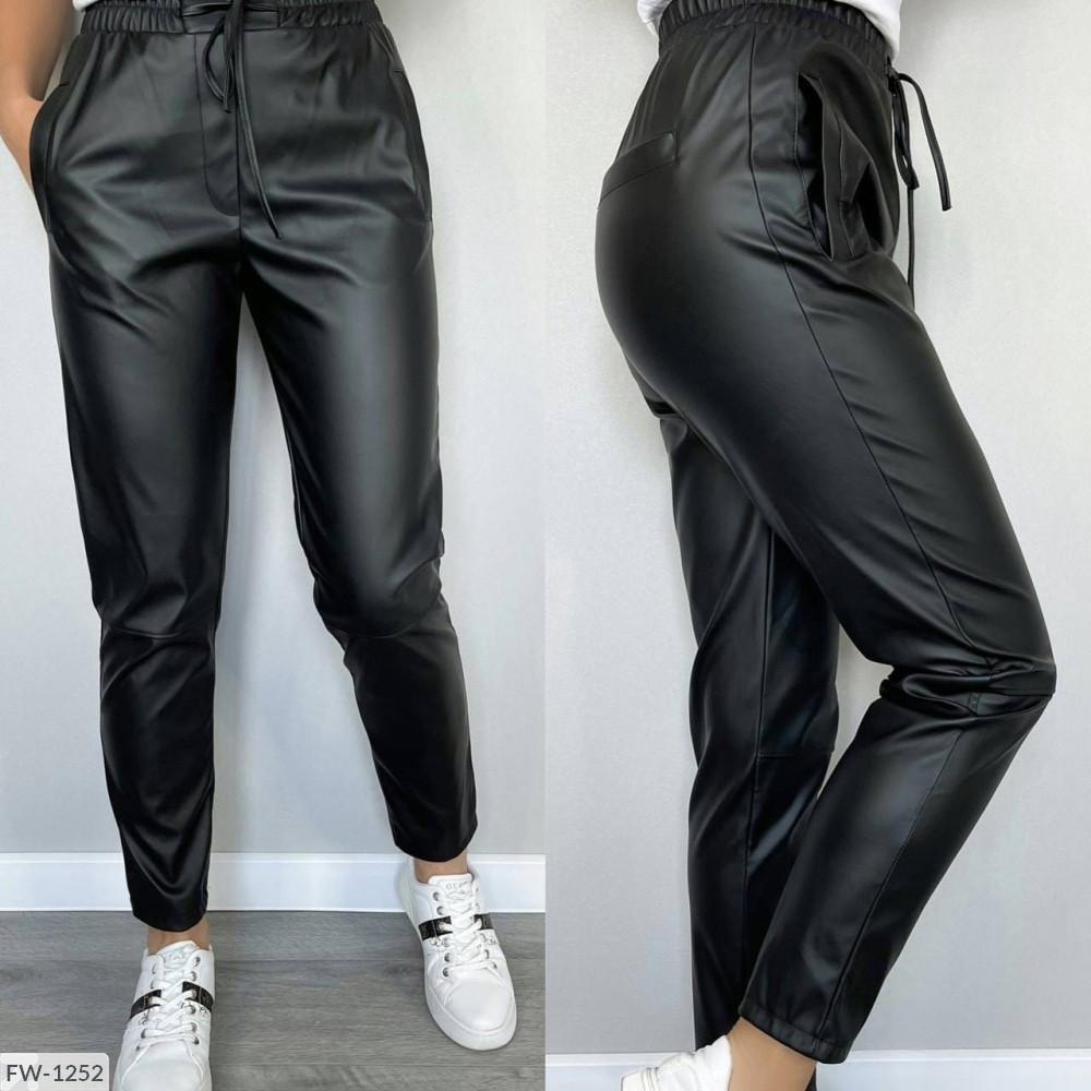 Женские кожаные матовые брюки (Батал)