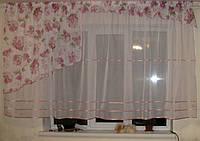 Комплект тюль на кухню розов Ассиметрия, фото 1