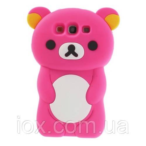 """Розовый силиконовый чехол """"Мишка"""" Samsung Galaxy S3/S3 duos"""