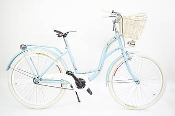 Велосипед жіночий міський VANESSA Vintage 26 Sky-Blue з кошиком Польща