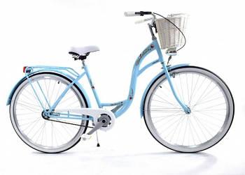 Велосипед жіночий міський VANESSA 26 Sky Blue з кошиком Польща