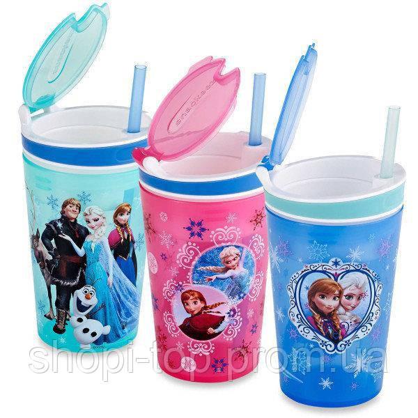 Кружка непроливайка Frozen Disney,гуртка дитяча,поїлка для дітей,стакан непроливайка з трубочкою