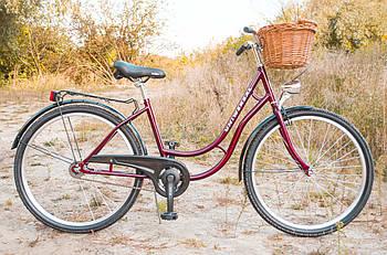 Велосипед жіночий міський Uniwersal 26 Red з кошиком Польща