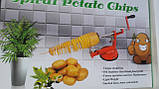 Универсальная машинка нарезки овощей и фруктов спиралью Spiral Potato Chips, фото 4