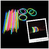 Неонові браслети,light stick, glow stick, 100 шт. Неонові світяться палички, фото 5