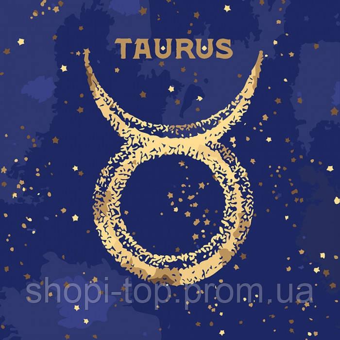 Картина по номерам - Знак зодиака Телец TAURUS с краской металлик (КН9519)