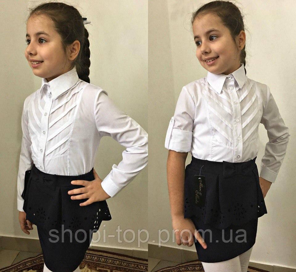 Блузка для девочки,блузка для школы для девочки,ткань хебе рубашка,Рост:122;128;134;140 см, код 0556