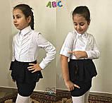 Блузка для девочки,блузка для школы для девочки,ткань хебе рубашка,Рост:122;128;134;140 см, код 0556, фото 2