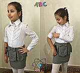Блузка для девочки,блузка для школы для девочки,ткань хебе рубашка,Рост:122;128;134;140 см, код 0556, фото 3