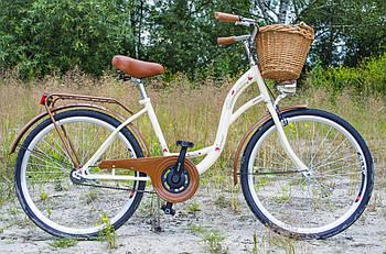 Велосипед жіночий міський VANESSA 26 Crem з кошиком Польща