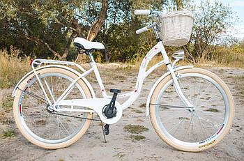 Велосипед жіночий міський VANESSA Vintage 26 White з кошиком Польща