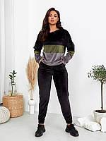 Жіночий стильний і зручний однотонний прогулянковий костюм з капюшоном батал, фото 1