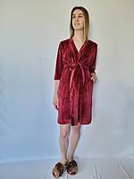 Комплект в роддом, халат из велюр плюша и хлопковой сорочки, фото 1