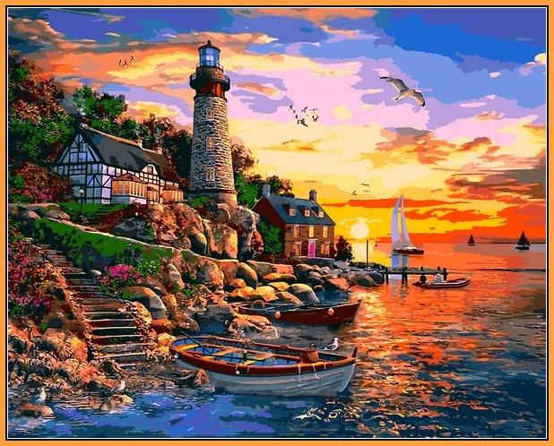 Картина по номерам 40×50 см. Babylon Premium (цветной холст + лак) Маяк Сансет-Бей (NB 1278)