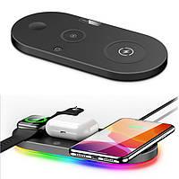 Беспроводная зарядка для Samsung iPhone Apple Watch Airpods, Зарядная Док Станция 4 в 1 стандарта QI