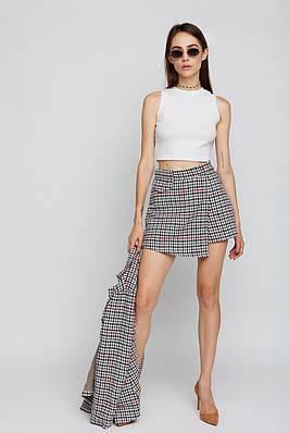 Женская мини юбка-шорты с высокой посадкой