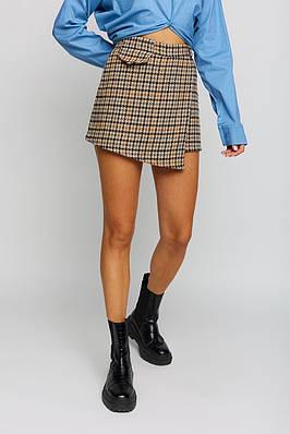 Женская теплая юбка-шорты с принтом