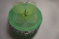 Шкатулка для украшений с зеркальцем, бабочка зеленая