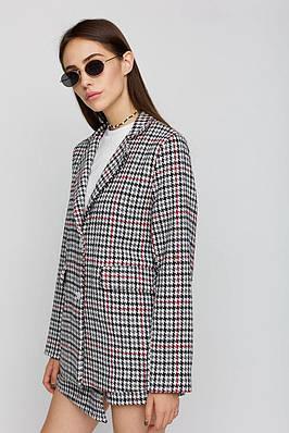 Модный однобортный женский пиджак из твида с принтом