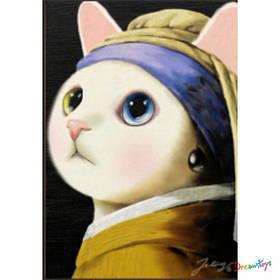 """Алмазна мозаїка """"Кішка з перловою сережкою"""" 30*40 см, з рамкою, в кор. 41*31*2,5 см"""