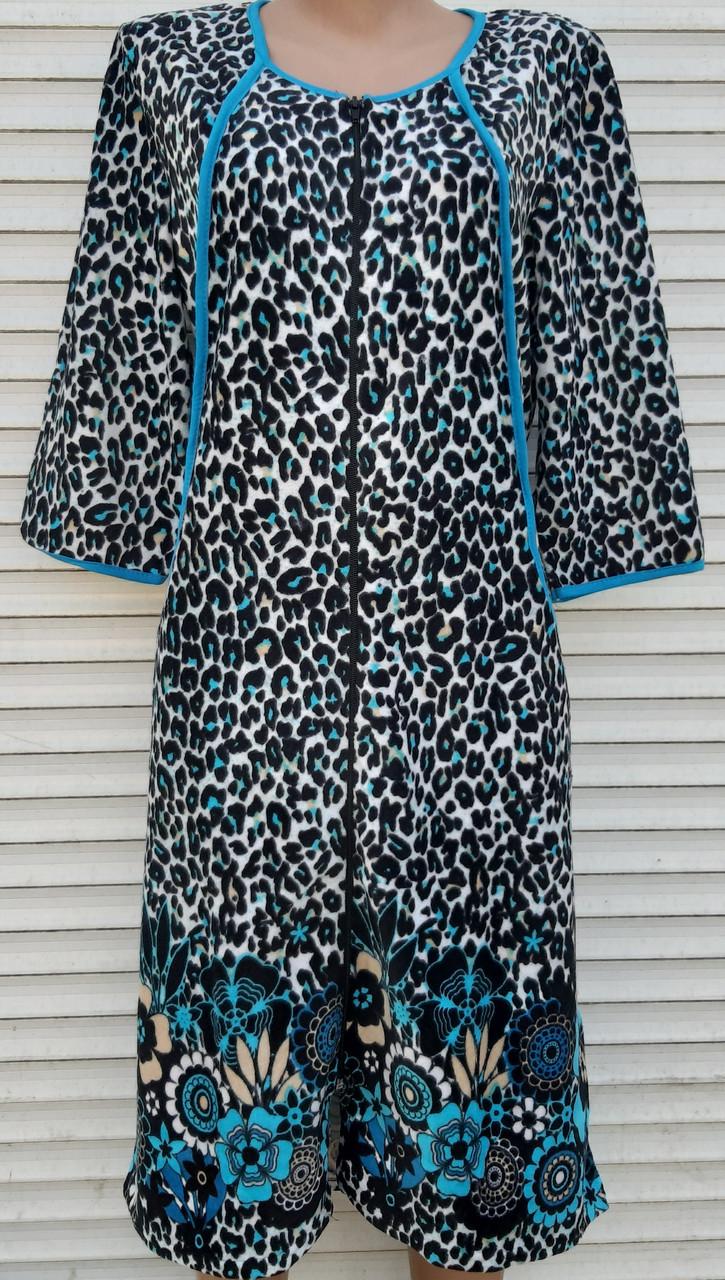 Женский велюровый халат 58 размер Теплый Домашний халат Тигровый голубой