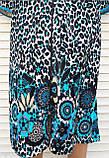 Женский велюровый халат 58 размер Теплый Домашний халат Тигровый голубой, фото 5