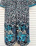 Женский велюровый халат 58 размер Теплый Домашний халат Тигровый голубой, фото 8