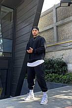 Мужской спортивный костюм (с футболкой), трёхнитка, черный