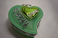 """Шкатулка """"Love"""" для украшений с зеркальцем, зеленая"""