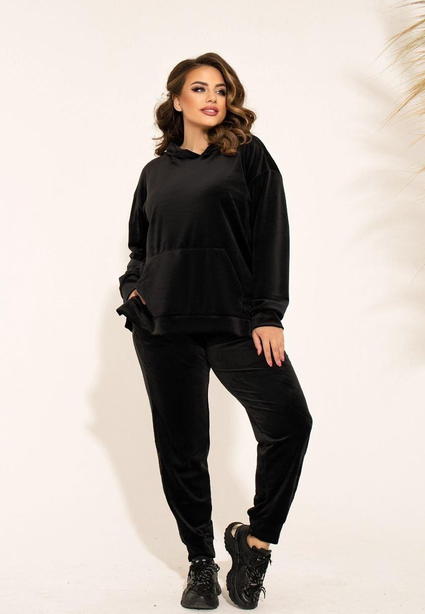 Женский спортивный черный костюм велюровый большие размеры