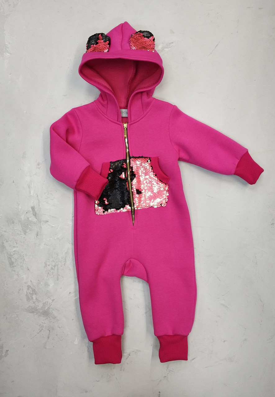 Дитячий комбінезон з начосом Ведмедик рожевий