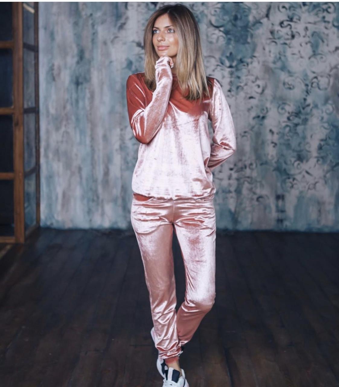 Женский вельветовый костюм розовый