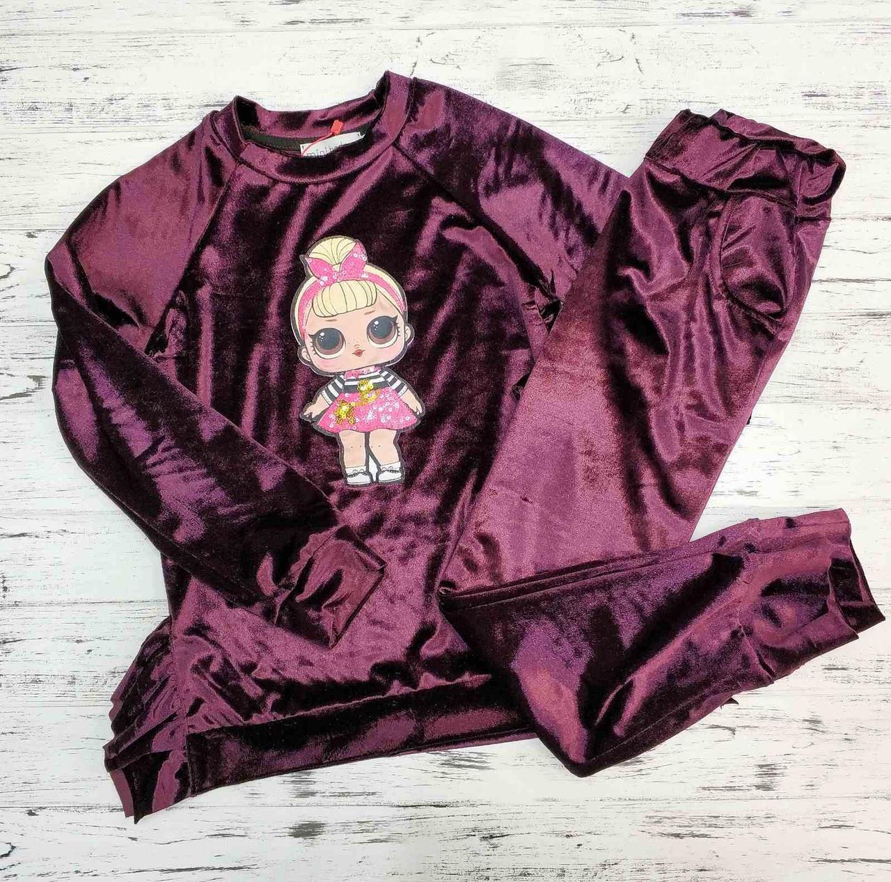 Вельветовый костюм для девочки LOL бордовый