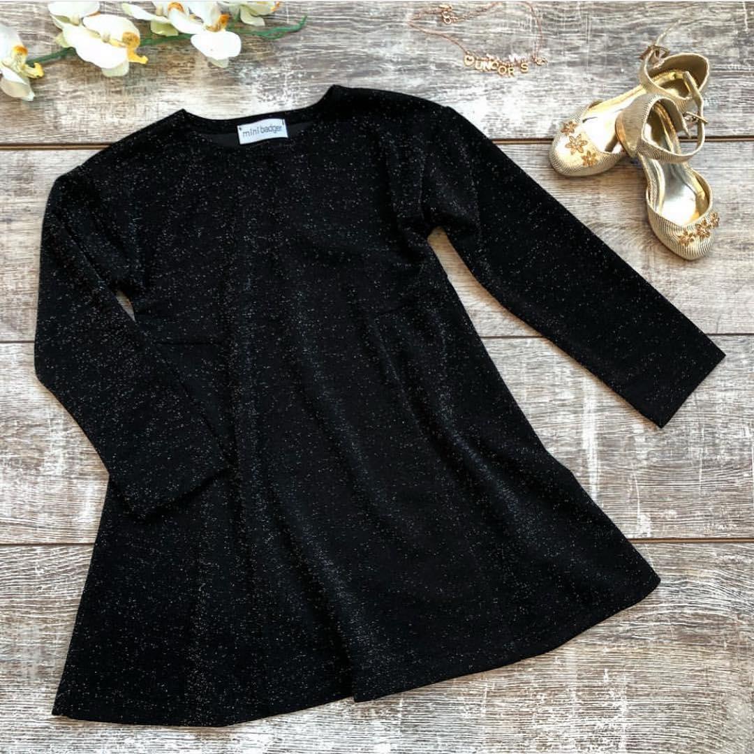 Платье для девочки черное блестки
