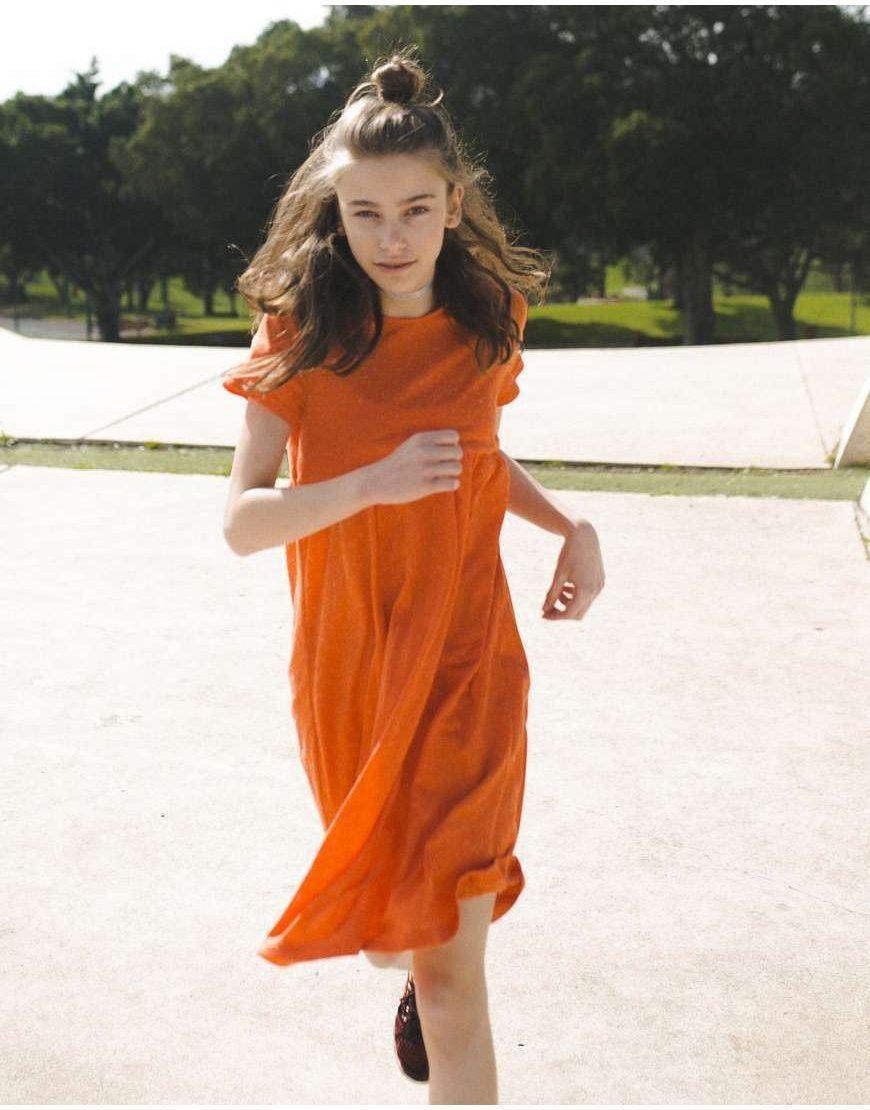 Плаття для дівчинки короткий рукав помаранчеве