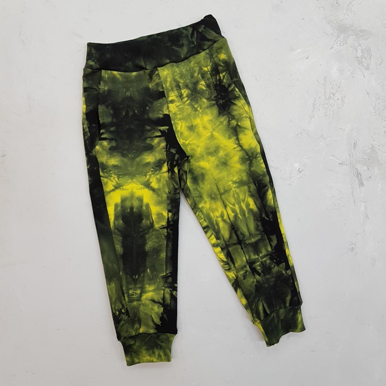Спортивные брюки для мальчика тай дай зеленые