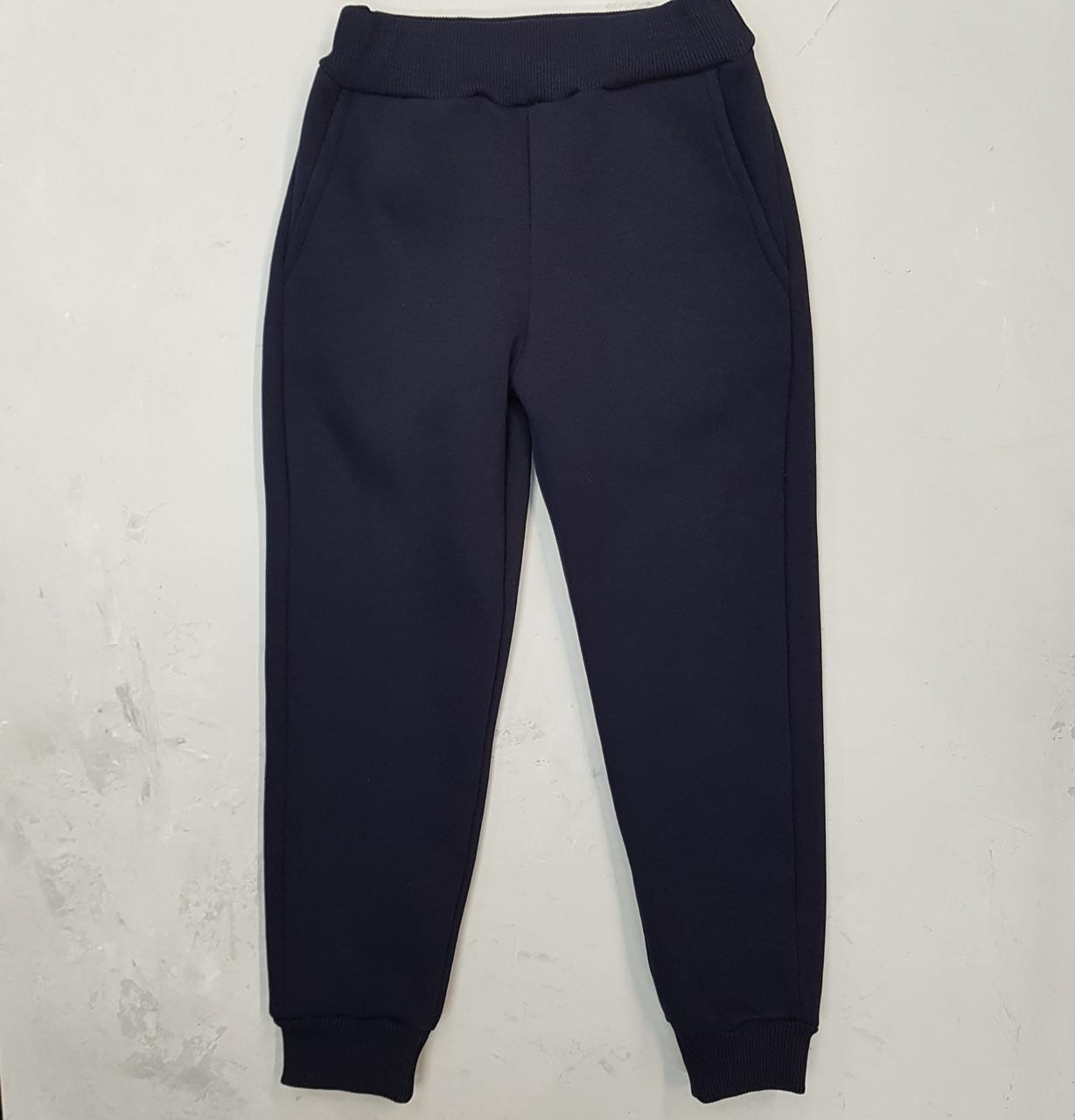 Утепленные спортивные брюки для девочки синие
