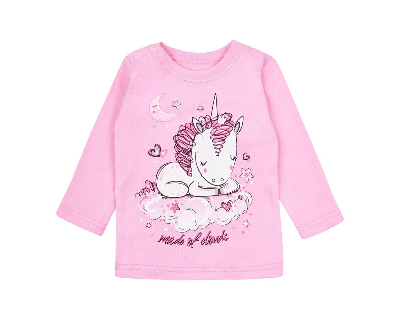 Детский реглан для девочки розовый единорог