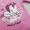 Детский реглан для девочки розовый единорог, фото 3