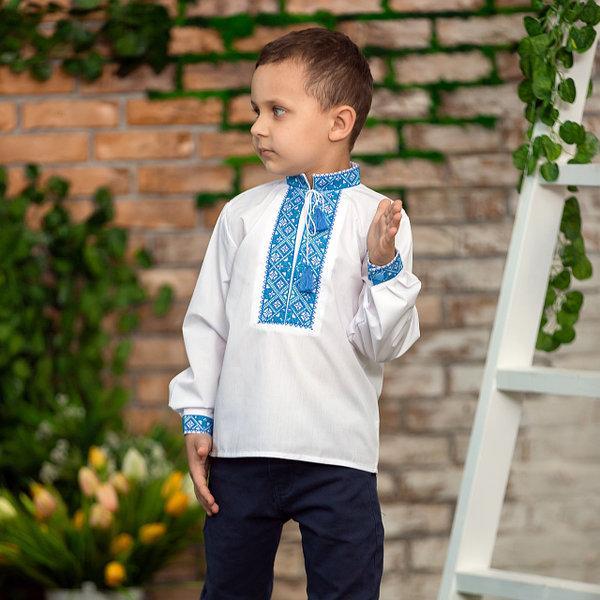 Детская вышиванка для мальчика синий орнамент